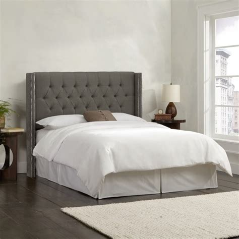 tufted wingback headboard queen skyline upholstered diamond tufted wingback queen