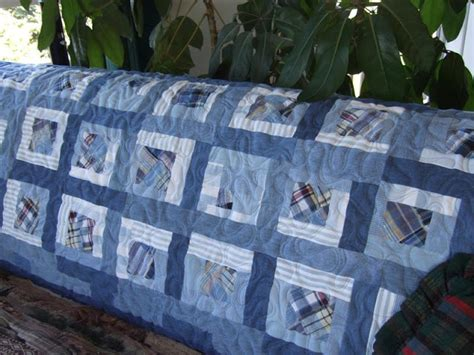 Denim Patchwork Quilt - denim rag quilt made from thrift store