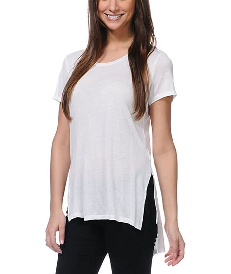 T Shirt Wanita Tunic jolt white tunic t shirt
