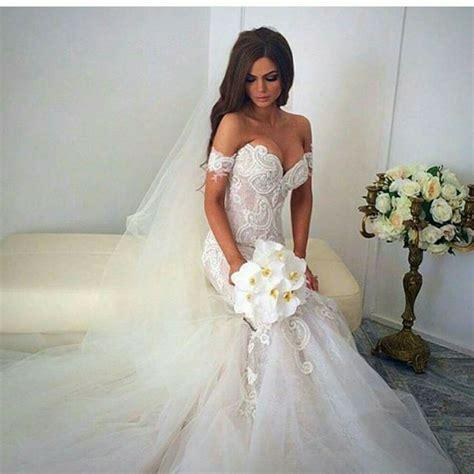 Wedding Formal Dress by Mermaid Shoulder Wedding Dress White Court