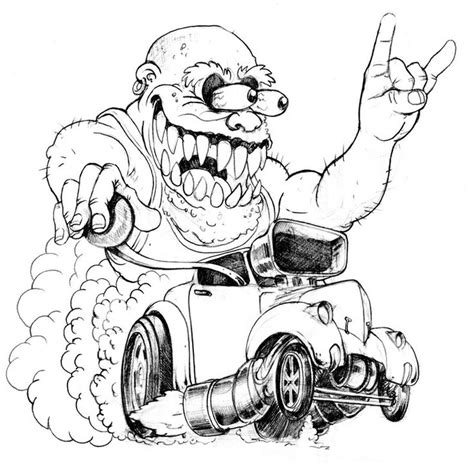 big daddy roth rat fink sketch coloring page