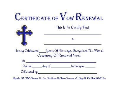 vow renewal certificate template dearly beloved wedding minister officiant business