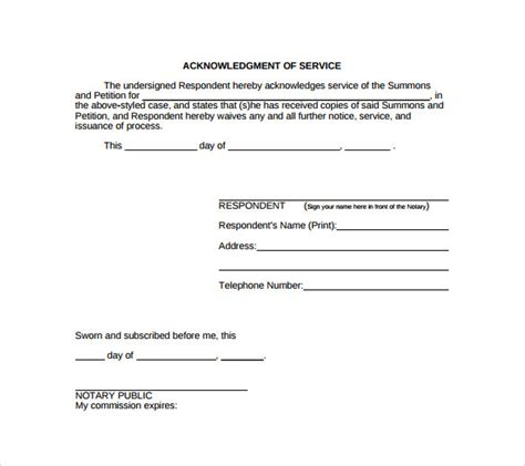 Acknowledgement Letter Australian Immigration Sle Acknowledgement Of Service Form 22 Documents In Pdf Word