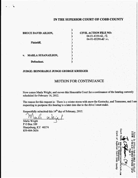 motion for continuance template cobb county divorce the three sided story collusion