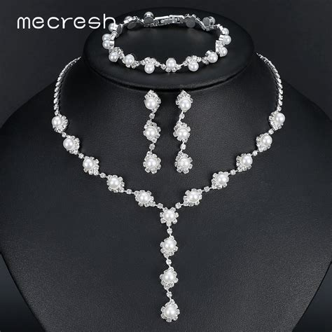 Wedding Jewelry Sets by Mecresh Simulated Pearl Wedding Jewelry Sets Simple