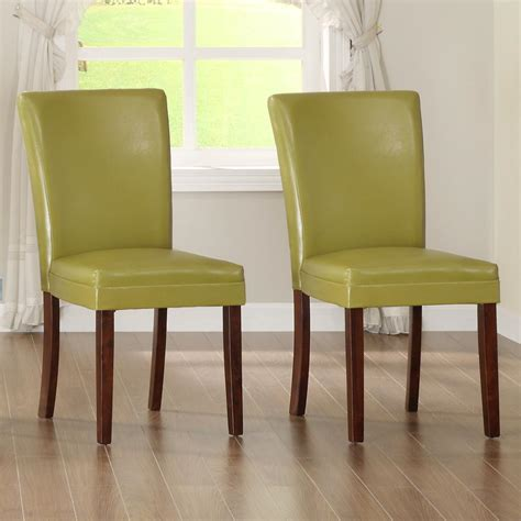homesullivan chartreuse yellow parsons dining chair set