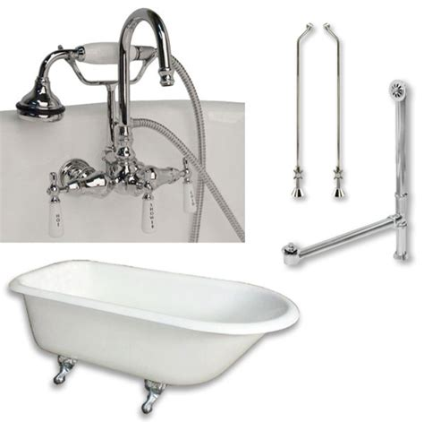 cast iron bathtub faucets cast iron rolled rim tub 55 quot telephone faucet polished