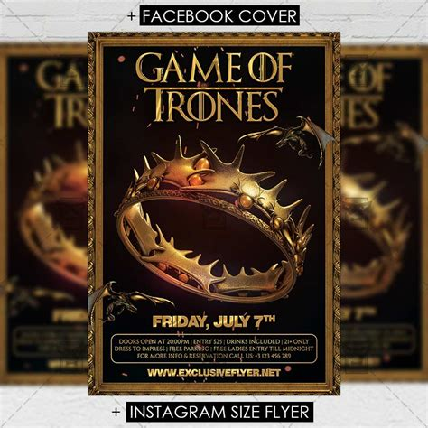 Game Of Thrones Night Premium A5 Flyer Template Exclsiveflyer Free And Premium Psd Templates Of Thrones Photoshop Template