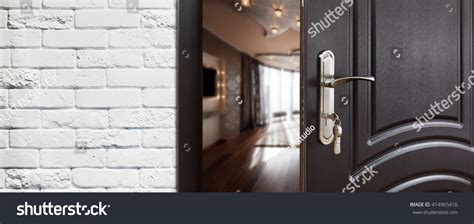 Open Locked Interior Door Half Opened Door Living Room Door Stock Photo 414965416