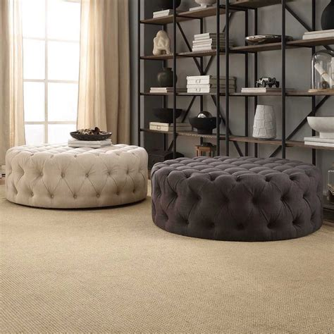 tufted cocktail ottoman knightsbridge linen tufted cocktail ottoman with