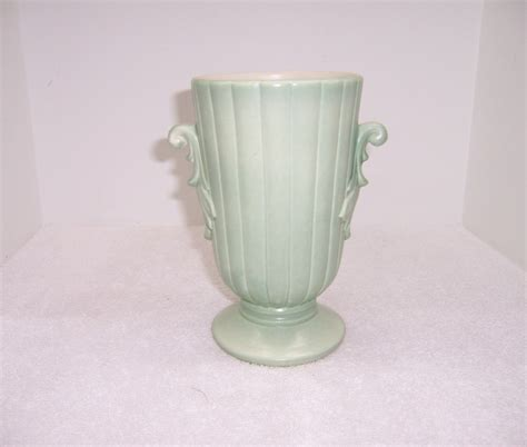 Redwing Vase by A Resale Redwing Wing Green Pottery Vase
