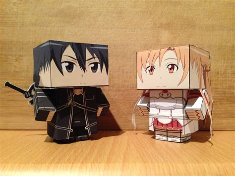 Kirito Papercraft - kirito and asuna sao cubeecraft by satanatos on deviantart