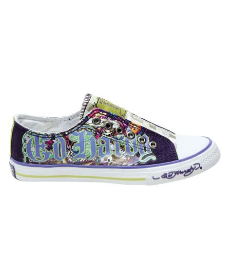 ed hardy purple tiger canvas shoes buy s