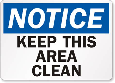 free printable keep area clean signs rn station aie