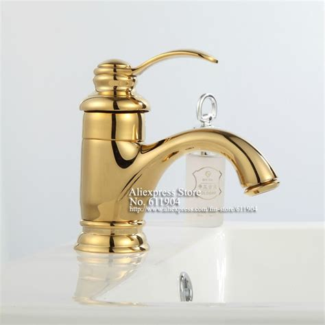 gold bathroom sink taps luxury single handle brass gold color bathroom bath vessel