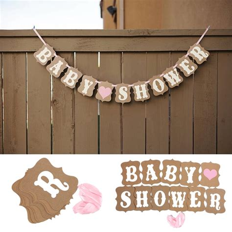 Decoration Ribbon Intl baby shower banner bunting garland rustic chic