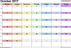 october 2017 calendar printable with holidays weekly