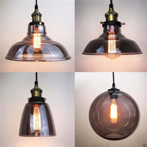 glass pendant light shades vintage industrial grey glass shade brass pendant l