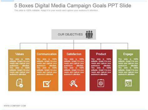 boxes digital media campaign goals   powerpoint design template sample
