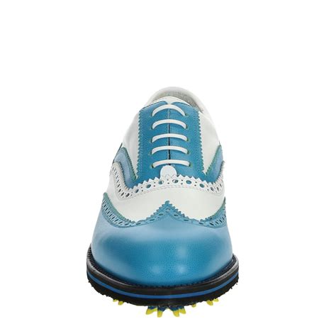 Handmade Golf Shoes - handmade golf shoes white blue leather wingtip brogues