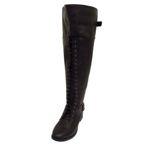 black wide fit calf lace biker knee high