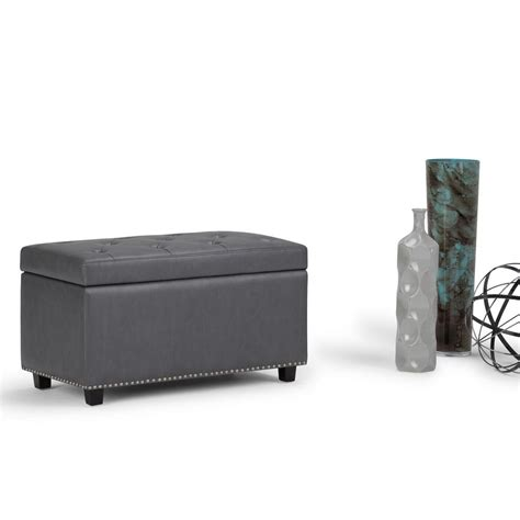 grey leather storage ottoman simpli home hannah stone grey pu faux leather storage