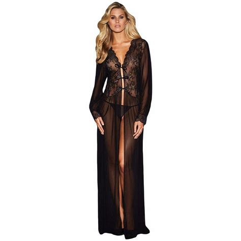 Special Dress Nightwear black see through baby doll sheer sleeve lace dress sleepwear robe with