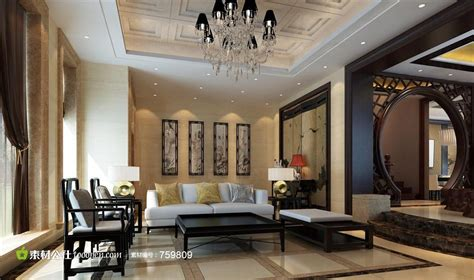 chinese classical painting in living room wall download 3d house 豪华别墅新中式风格样板房装修效果图 素材公社 tooopen com