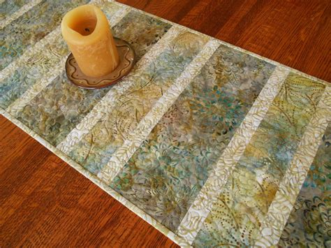 Kemeja Batik Modern Gold Blue modern batik table runner in shades of blue gold and grey
