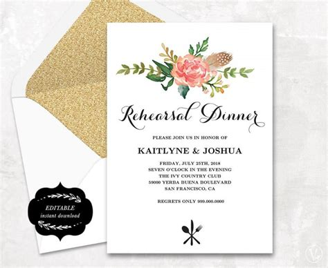 Wedding Dinner Invitation Card Template by Printable Rehearsal Dinner Invitation Card Template