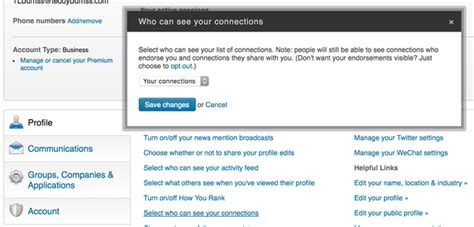 how to prevent linkedin from displaying my new connections