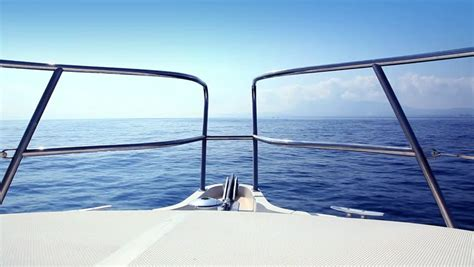 bow clip boat boating in blue mediterranean sea view from boat bow deck