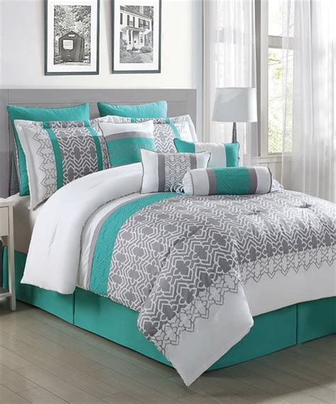 white and teal comforter set s l home fashions gray white teal luna 10 piece