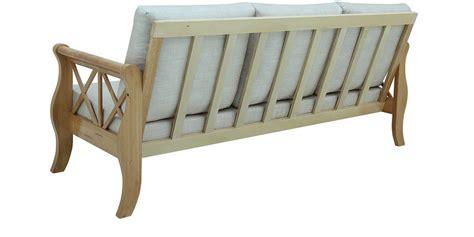 rubber wood sofa buy ardriaan rubber wood three seater sofa in natural oak