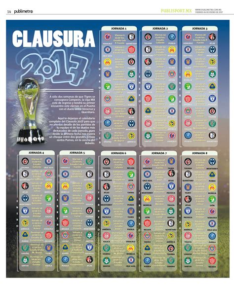 Calendario Liga Mx Calendario Completo Clausura 2017 De La Liga Mx