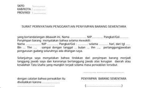 contoh surat keterangan format word contoh bentuk surat pernyataan penggantian penyimpan