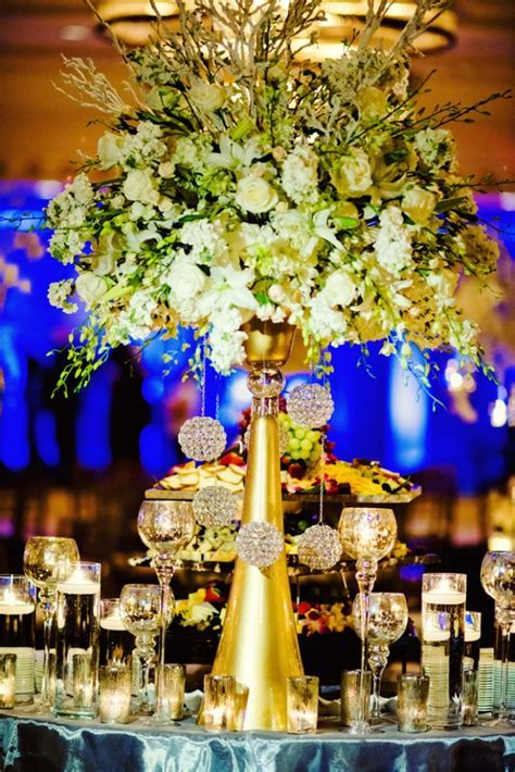 Gold and White Beautiful Wedding Centerpiece  B. Lovely Events
