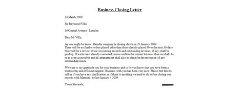 Business Closing Letter To Customers letter format closing best template collection