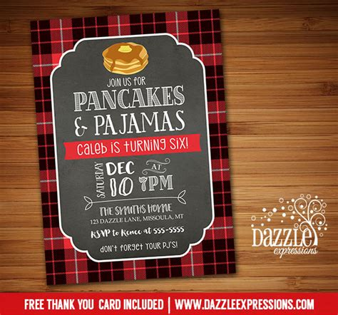free christmas pj invitation printable plaid pancake and pajamas birthday invitation winter breakfast