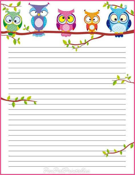 free printable owl stationery pin by nadine on writing paper checklists notes pinterest