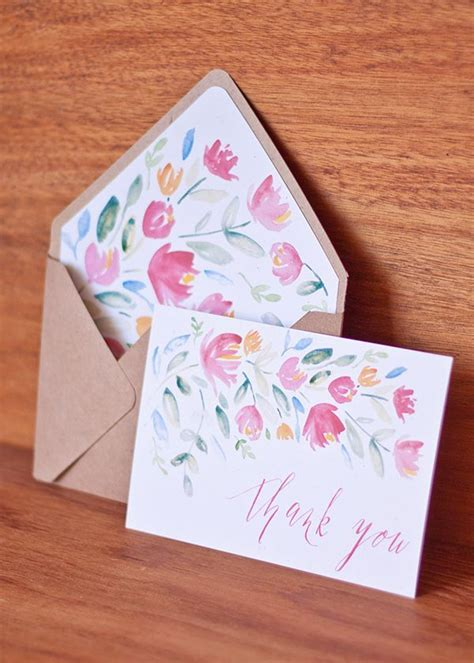 thank you card envelope template free printable painted floral thank you cards with