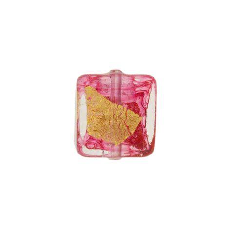 P Square Tosca murano glass bead rubino pink tosca square gold splashes 12mm