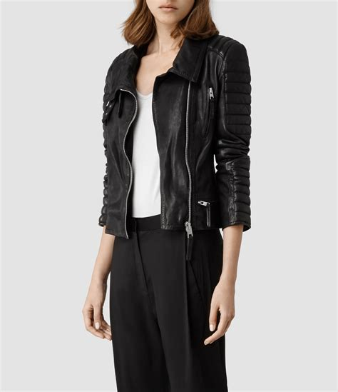 all black motorcycle jacket lyst allsaints steine leather biker jacket in black