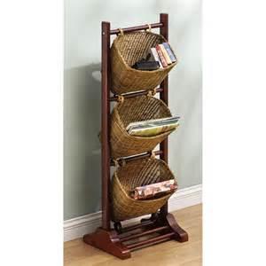 3 tier wicker basket magazine rack 77456 decorative
