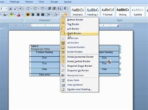change table style table formatting apa