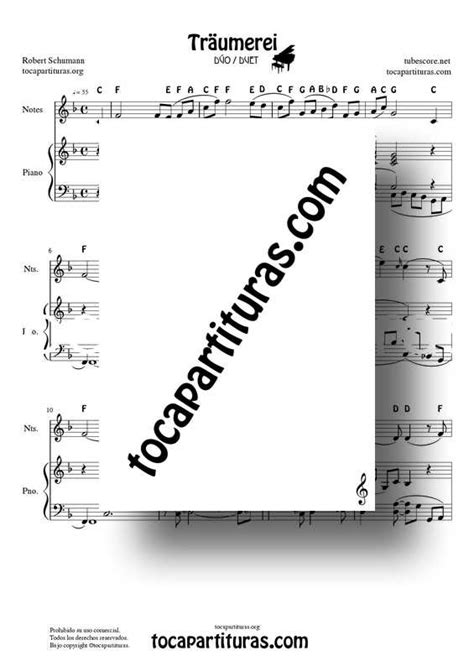 Traumerei Easy Duet Sheet Music for Notes and Piano