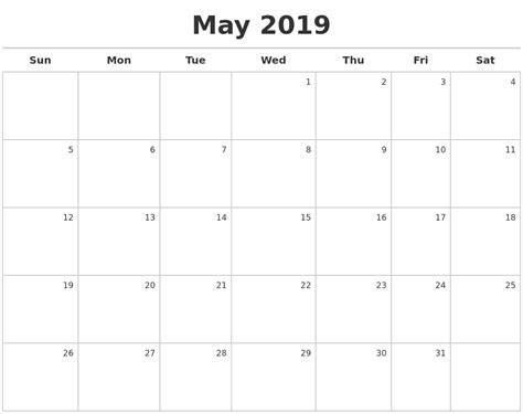 Calendar 2019 May July 2019 Calendars To Print