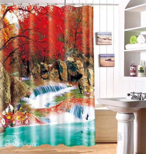 3d Shower Curtains by Graceful Autumn Woodsy Waterfall 3d Shower Curtain