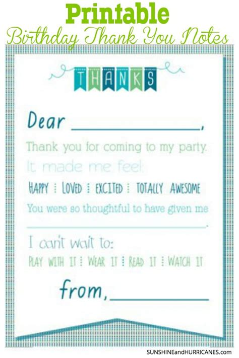 Printable  Ee  Birthday Ee   Thank You Notes