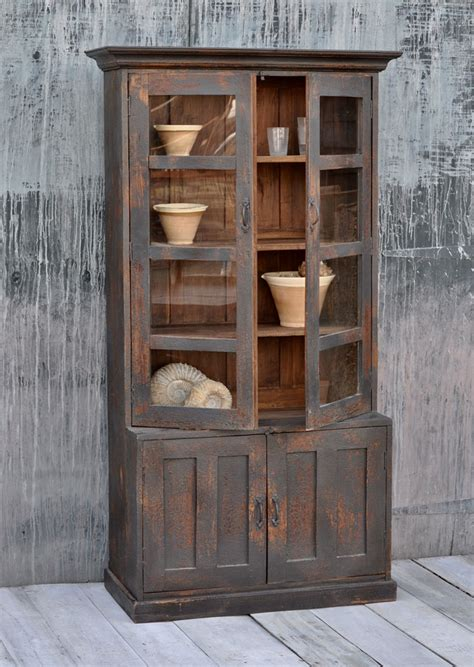 tall vintage glass fronted cabinet home barn vintage